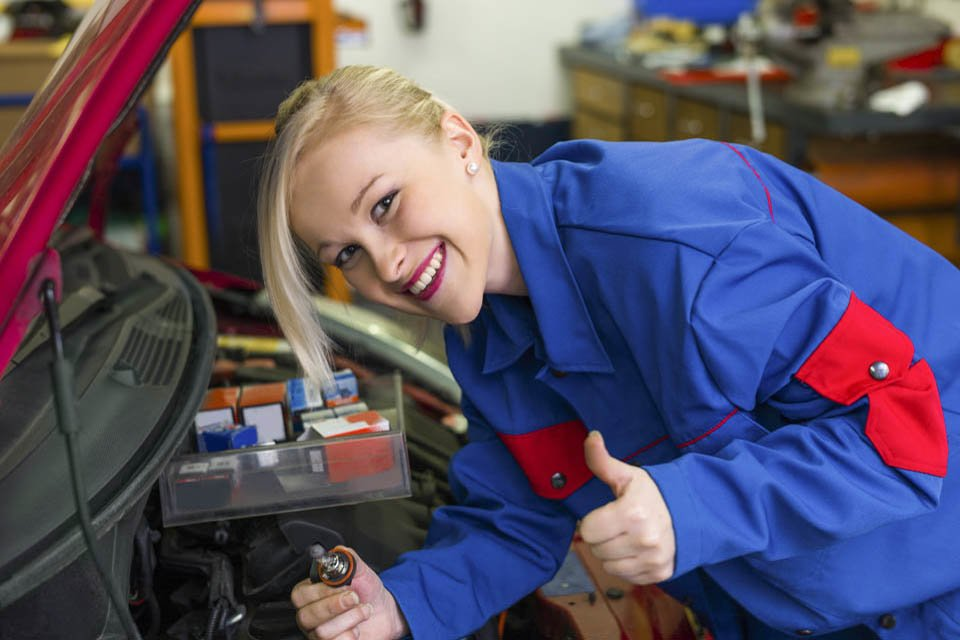 Photo of an Apprentice Working on a vehicle